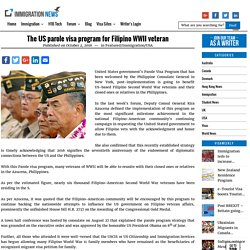 The US parole visa program for Filipino WWII veteran