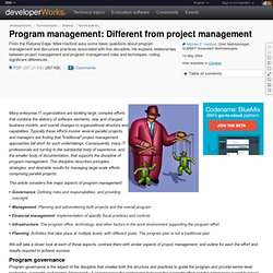 Program management: Different from project management