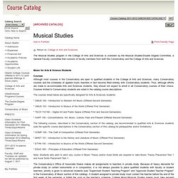 Program: Musical Studies - Oberlin College - acalog ACMS™