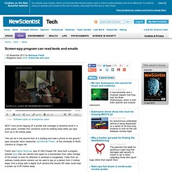 Screen-spy program can read texts and emails - tech - 02 November 2011