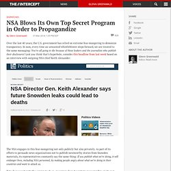 NSA Blows Its Own Top Secret Program in Order to Propagandize