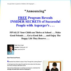 FREE Program Reveals Insider Secrets of Successful People with Aspergers