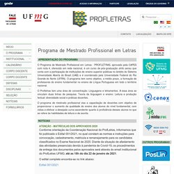 Programa de Mestrado Profissional em Letras - INÍCIO