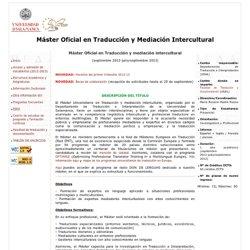 Programa Oficial de Posgrado en Traducción