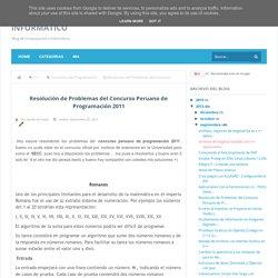 Resolución de Problemas del Concurso Peruano de Programación 2011 - Código Informático