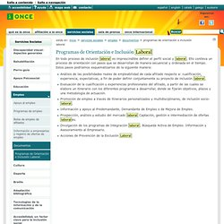 Programas de Orientación e Inclusión Laboral — Web de la ONCE