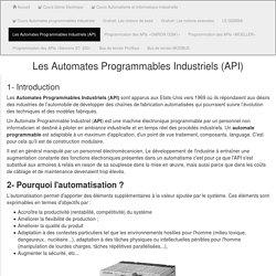 Automates Programmables Industriels (API)