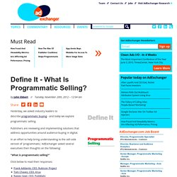 Define It - What Is Programmatic Selling?