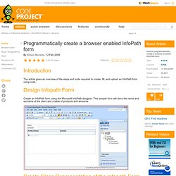 Programmatically create a browser enabled InfoPath form