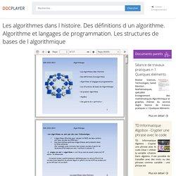Les algorithmes dans l histoire. Des définitions d un algorithme. Algorithme et langages de programmation. Les structures de bases de l algorithmique