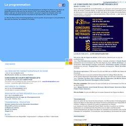La programmation : CONCOURS DE COURTS-MÉTRAGES 2016