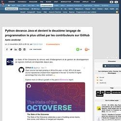 Python devance Java et devient le deuxième langage de programmation le plus utilisé par les contributeurs sur GitHub après JavaScript