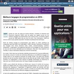 Meilleurs langages de programmation en 2016 : découvrez les langages en forte croissance et les plus demandés par les employeurs, selon l'IEEE