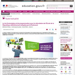 Loi d'orientation et de programmation pour la refondation de l'École de la République