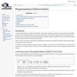 Programmation:C:Entrees:Sorties — wiki-prog