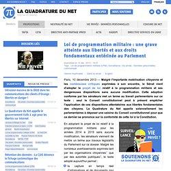 Loi de programmation militaire: une grave atteinte aux libertés et aux droits fondamentaux entérinée au Parlement