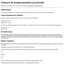 Normes de programmation JavaScript