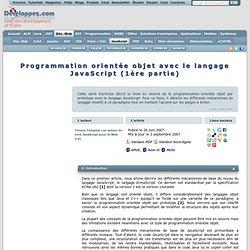 Programmation orientée objet avec le langage JavaScript (1ère partie)