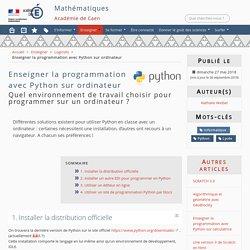Enseigner la programmation avec Python sur ordinateur