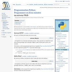 Programmation Python/Programmer en deux minutes/un serveur Web