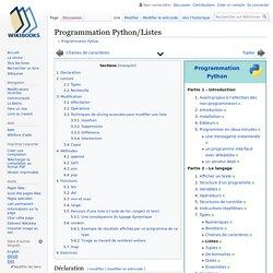 Programmation Python/Listes