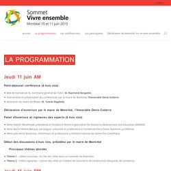 La programmation - Sommet Vivre ensemble
