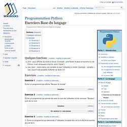 Programmation Python/Exercices Base du langage