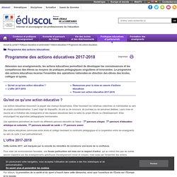 Calendrier des actions éducatives