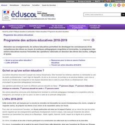 Programme des actions éducatives - Programme des actions éducatives 2018-2019 - Éduscol
