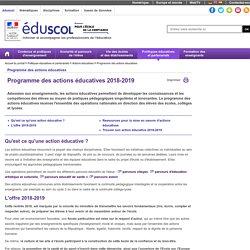 Programme des actions éducatives - Programme des actions éducatives 2016/2017