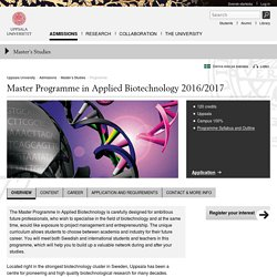Master Programme in Applied Biotechnology 2016/2017