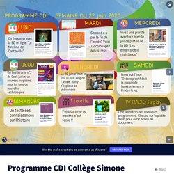 Programme CDI Collège Simone Veil par Collège Simone Veil sur Genially