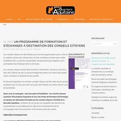 Un programme de formation et d'échanges à destination des conseils citoyens - Pays et Quartiers d'Aquitaine