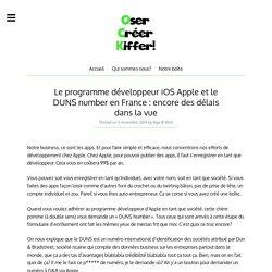 Le programme développeur iOS Apple et le DUNS number en France : encore des délais dans la vue - Oser, Créer, Kiffer!