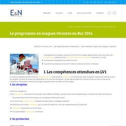 Le programme en langues vivantes au Bac 2014