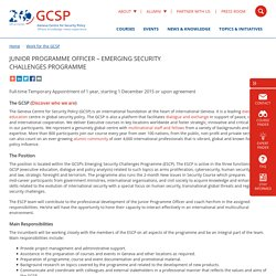 Junior Programme Officer – Emerging Security Challenges Programme - GCSP