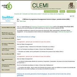 L'EMI dans le programme d'enseignement moral et civique : première lecture (EMC)