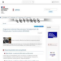 Programme national d'œuvres pour l'enseignement de français pour l'année scolaire 2019-2020