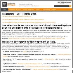 Programme - EPI - rentrée 2016