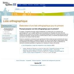 LISTE ORTHOGRAPHIQUE - Programme de formation de l'école québécoise