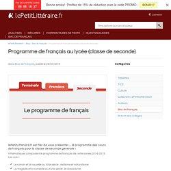 Programme de français au lycée (la classe de seconde)