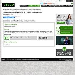 TELUQ : Programme court en gestion de projets créatifs (0740)