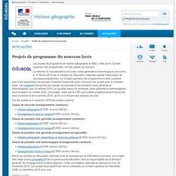 Projets de programme du nouveau lycée-Histoire-géographie-Éduscol