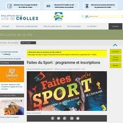Faites du Sport : programme et inscriptions, à l'actu de la Ville de Crolles.