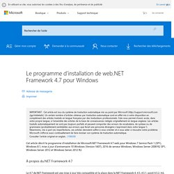 Le programme d'installation de web.NET Framework 4.7 pour Windows
