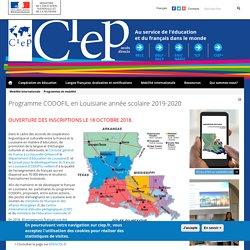 Programme CODOFIL en Louisiane année scolaire 2017-2018