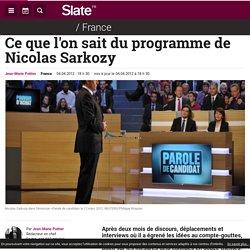 Ce que l'on sait du programme de Nicolas Sarkozy