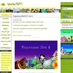 Programme officiel SVT 1ère S – LE BO -