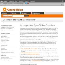 Le programme OpenEdition Freemium