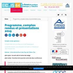 Programme, comptes rendus et présentations 2019